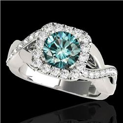 2 CTW SI Certified Fancy Blue Diamond Solitaire Halo Ring 10K White Gold - REF-234X5T - 33321