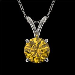 0.73 CTW Certified Intense Yellow SI Diamond Solitaire Necklace 10K White Gold - REF-100N2Y - 36746
