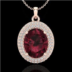 4.50 CTW Garnet & Micro Pave VS/SI Diamond Certified Necklace 14K Rose Gold - REF-84N5Y - 20564