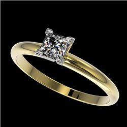 0.50 CTW Certified VS/SI Quality Princess Diamond Solitaire Ring 10K Yellow Gold - REF-77W6H - 32870