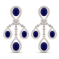 25.08 CTW Royalty Sapphire & VS Diamond Earrings 18K Rose Gold - REF-490N9Y - 38578