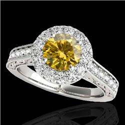 1.7 CTW Certified Si Fancy Intense Yellow Diamond Solitaire Halo Ring 10K White Gold - REF-178M2F -