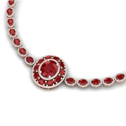43.54 CTW Royalty Ruby & VS Diamond Necklace 18K Rose Gold - REF-981H8W - 39277