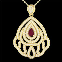 2 CTW Ruby & Micro Pave VS/SI Diamond Designer Necklace 18K Yellow Gold - REF-169R6K - 21270