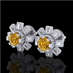 1.77 CTW Intense Fancy Yellow Diamond Art Deco Stud Earrings 18K White Gold - REF-177R3K - 37868