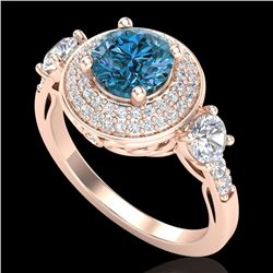 2.05 CTW Intense Blue Diamond Solitaire Art Deco 3 Stone Ring 18K Rose Gold - REF-300M2F - 38147