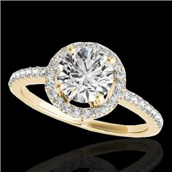 1.4 CTW H-SI/I Certified Diamond Solitaire Halo Ring 10K Yellow Gold - REF-172H8W - 34098