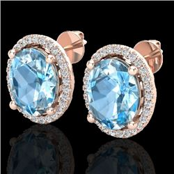 6 CTW Sky Blue Topaz & Micro VS/SI Diamond Certified Earrings Halo 14K Rose Gold - REF-64W2H - 21047