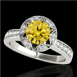 1.5 CTW Certified Si Fancy Intense Yellow Diamond Solitaire Halo Ring 10K White Gold - REF-180X2T -