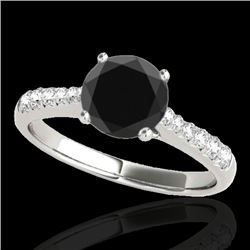1.25 CTW Certified Vs Black Diamond Solitaire Ring 10K White Gold - REF-52X8T - 34822