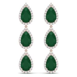 27.06 CTW Royalty Emerald & VS Diamond Earrings 18K Rose Gold - REF-400T2X - 38842