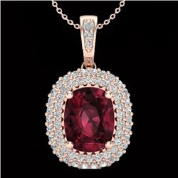 2.60 CTW Garnet & Micro Pave VS/SI Diamond Certified Halo Necklace 10K Rose Gold - REF-65X5T - 20407