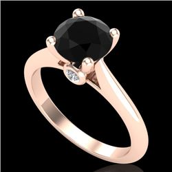 1.6 CTW Fancy Black Diamond Solitaire Engagement Art Deco Ring 18K Rose Gold - REF-100W2H - 38214