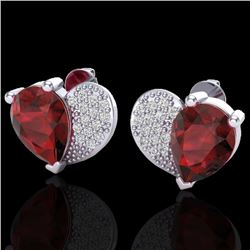 2.50 CTW Garnet & Micro Pave VS/SI Diamond Certified Earrings 10K White Gold - REF-30K2R - 20075