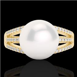 0.30 CTW Micro Pave VS/SI Diamond Certified & Pearl Designer Ring 18K Yellow Gold - REF-49Y6N - 2263