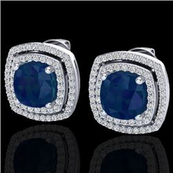 4.95 CTW Sapphire & Micro Pave VS/SI Diamond Halo Earrings 18K White Gold - REF-105Y3N - 20171