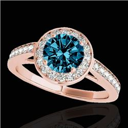 1.45 CTW SI Certified Fancy Blue Diamond Solitaire Halo Ring 10K Rose Gold - REF-169T3X - 33802