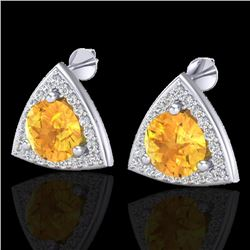 3 CTW Citrine & Micro Pave Halo VS/SI Diamond Stud Earrings 18K White Gold - REF-62H8W - 20185