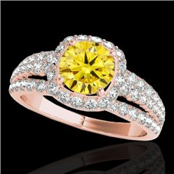 2 CTW Certified Si Fancy Intense Yellow Diamond Solitaire Halo Ring 10K Rose Gold - REF-180H2W - 340