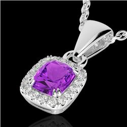 1.25 CTW Amethyst & Micro Pave VS/SI Diamond Certified Halo Necklace 10K White Gold - REF-28H8W - 22
