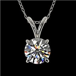 0.77 CTW Certified H-SI/I Quality Diamond Solitaire Necklace 10K White Gold - REF-100R2K - 36739
