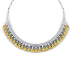 39.66 CTW Royalty Canary Citrine & VS Diamond Necklace 18K White Gold - REF-854X5T - 38883