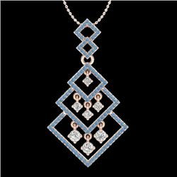 1.50 CTW Micro Blue & VS/SI Diamond Necklace Dangling Designer 14K Rose Gold - REF-140H8W - 22492