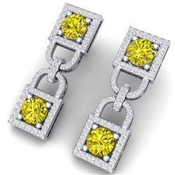 4 CTW Si/I Fancy Yellow And White Diamond Earrings 18K White Gold - REF-300X2T - 40163