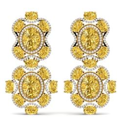 29.21 CTW Royalty Canary Citrine & VS Diamond Earrings 18K Yellow Gold - REF-409M3F - 39326