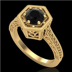 0.77 CTW Fancy Black Diamond Solitaire Engagement Art Deco Ring 18K Yellow Gold - REF-89H3W - 37501