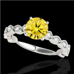 1.75 CTW Certified Si Fancy Intense Yellow Diamond Solitaire Ring 10K White Gold - REF-200W2H - 3489