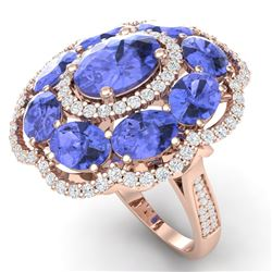 15.24 CTW Royalty Tanzanite & VS Diamond Ring 18K Rose Gold - REF-327M3F - 39193