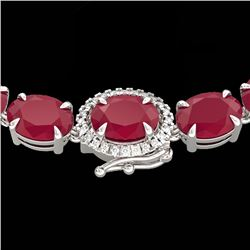 92 CTW Ruby & VS/SI Diamond Eternity Tennis Micro Halo Necklace 14K White Gold - REF-527W3H - 23475