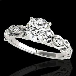 1.1 CTW H-SI/I Certified Diamond Solitaire Antique Ring 10K White Gold - REF-156R4K - 34630