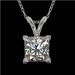 1 CTW Certified VS/SI Quality Princess Diamond Solitaire Necklace 10K White Gold - REF-265K3R - 3319