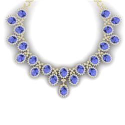 86 CTW Royalty Tanzanite & VS Diamond Necklace 18K Yellow Gold - REF-2018X2T - 38630