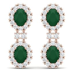 8.98 CTW Royalty Emerald & VS Diamond Earrings 18K Rose Gold - REF-218N2Y - 38809