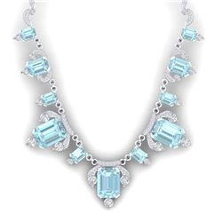 79.56 CTW Royalty Sky Topaz & VS Diamond Necklace 18K White Gold - REF-945M5F - 38754