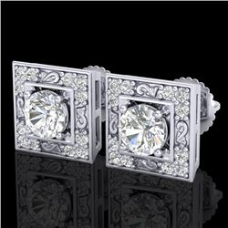 1.63 CTW VS/SI Diamond Solitaire Art Deco Stud Earrings 18K White Gold - REF-254R5K - 37268