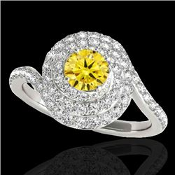 2.11 CTW Certified Si Fancy Intense Yellow Diamond Solitaire Halo Ring 10K White Gold - REF-240R9K -