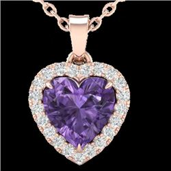 1 CTW Amethyst & Micro VS/SI Diamond Heart Necklace Heart Halo 14K Rose Gold - REF-28M4F - 21332