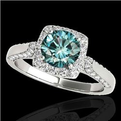 1.5 CTW SI Certified Fancy Blue Diamond Solitaire Halo Ring 10K White Gold - REF-176H4W - 33369