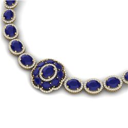 79.27 CTW Royalty Sapphire & VS Diamond Necklace 18K Yellow Gold - REF-1236X4T - 39227