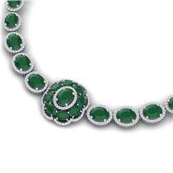 79.27 CTW Royalty Emerald & VS Diamond Necklace 18K White Gold - REF-1309R3K - 39219