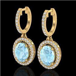 3.25 CTW Aquamarine & Micro Pave VS/SI Diamond Earrings Halo 18K Yellow Gold - REF-111M3F - 20312