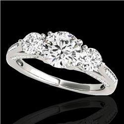 1.75 CTW H-SI/I Certified Diamond 3 Stone Ring 10K White Gold - REF-236H4W - 35349