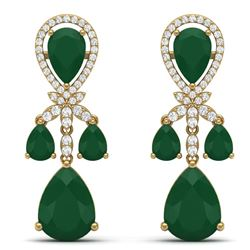 38.29 CTW Royalty Emerald & VS Diamond Earrings 18K Yellow Gold - REF-454H5W - 38606