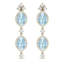16.41 CTW Royalty Sky Topaz & VS Diamond Earrings 18K Yellow Gold - REF-254W5H - 38918