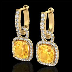 7 CTW Citrine & Micro Pave VS/SI Diamond Certified Earrings 18K Yellow Gold - REF-100K8R - 22960
