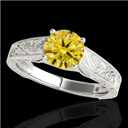 1.5 CTW Certified Si Fancy Intense Yellow Diamond Antique Ring 10K White Gold - REF-236N4Y - 35198